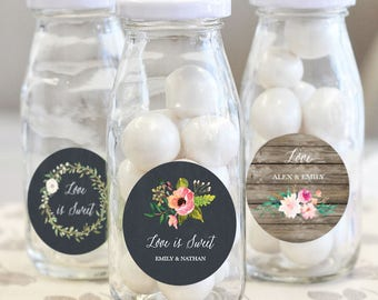 Personalized Floral Garden Milk Bottles Dessert Goodie Buffet Custom Bottle Favors Bridal Engagement Tea Party Rustic Chic Country Wedding