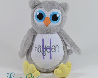 Personalized Owl, Birth Stats Owl, Name Owl, Embroidered Owl, Keepsake Owl, Memorial Owl, Grey Owl Stuffie, Baby Owl, Owl, Little Elska