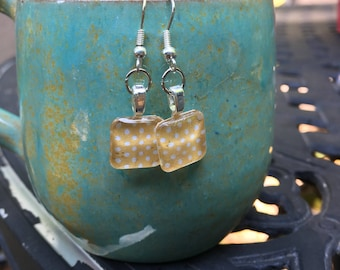 Yellow polka dot dangle earrings!