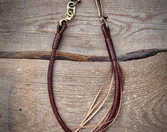 Leather Braided Wallet lanyard Fishhook.