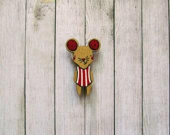 Handmade Wooden Mouse Brooch