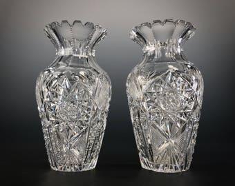 Gorgeous AMERICAN BRILLIANT Cut Glass | C. F. MONROE | Very Well-cut Vases