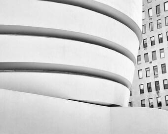 Guggenheim, New York Photography, Black and White, Guggenheim Museum, NYC, New York Art, Abstract, Architecture, Wall Art Print