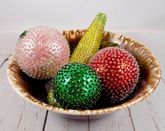 Set of 5 Sequin Beaded Fruits,beads,hand made,vintage,crafts,Retro,Kitsch,Push Pin,Kitchen Decor,Centerpiece,Mid Century,Decorative Craft