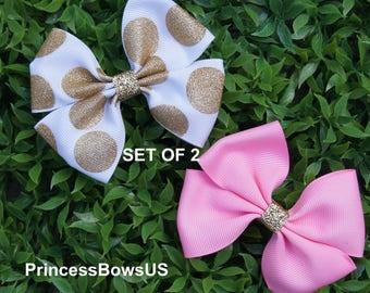 Hair bows,Cute hair bow,gold hair bow,pink hair bow,white hair bow,SET OF 2
