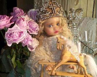 Vintage Style Cross Filigree Crown 1800s Replica, worn by Corinne Layton OOAK Sculpy Doll Vintage Olivia *Not Included