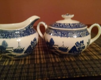 homer laughlin blue willow sugar bowl with lid and creamer