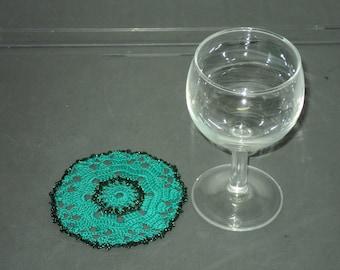 6 DOILIES or coasters handmade crochet Green