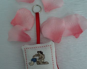 Zodiac, embroidered in cross stitch Keychain: the Aquarius, birthday, birth gift, or other