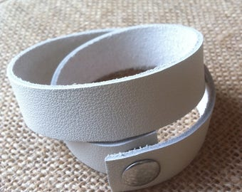Cuff Bracelet leather double rounds