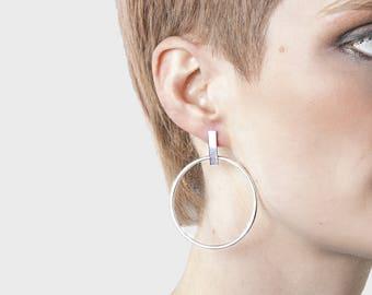 Sterling silver / Bar hoops / Contemporary earrings / Modern jewelry / Stud earrings