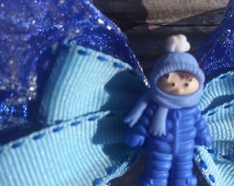 Cozy Winter Blue Boy Christmas Hair Bow