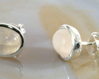 Moonstone and silver earstuds  --  1354