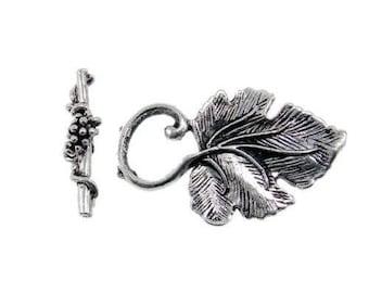 Vine Leaf silver toggle clasp