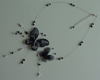 Silver Black Butterfly Necklace set with pearls wedding