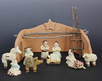 Southwest Nativity Set Creche, Handmade by Karlene Voepel, Stoneware & Terra Cotta Clay