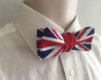 Mens Union Jack Bow tie - Self-tied bow tie - Slim straight ends bow tie - UK flag - Patriotic - Gift for him - Gift ideas