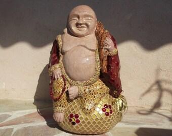 Laughing Buddha mosaic Crackle effect