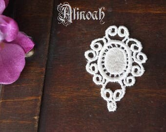 cm 5x3.5 white guipure lace motif