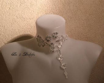 Bridal ivory flower lace necklace * purple alcee *.
