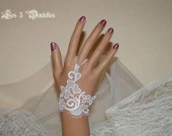 Ivory lace wedding mitten * lace 3 * X 1