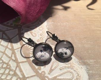 Unique cabochon earring * 3 lace *.