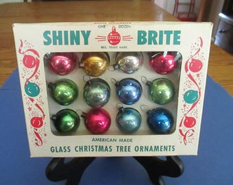 Vintage Small Box Shiny Brite Christmas Tree Ornaments, Feather Tree, Multi-Color, Mercury Glass, 1950's