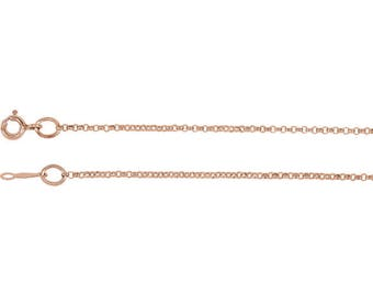 Solid 14k Rose Gold 1.5mm Rolo Link Chain 18 inches, 2.63 grams, for your own pendant