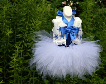 New* Dallas Cowboy Football Inspired Lined Tutu Birthday Dress - Embroidered and FREE Personalization