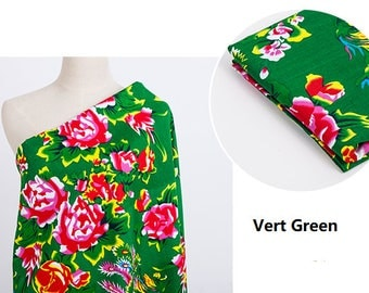 Chinese fabrics traditional peony cotton Green 10m