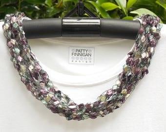 Crochet Ladder Yarn Necklace, Faded Violets