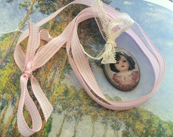 collar gingham retro porcelain doll
