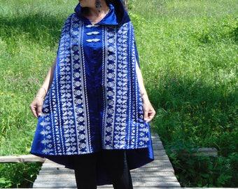 Royal Blue Embroidery mantle/Opera evening cape/Boho cape cloak/Gothic cape cloak/Hooded cape/Victorian Cape/Elegant evening cape/Boho cape