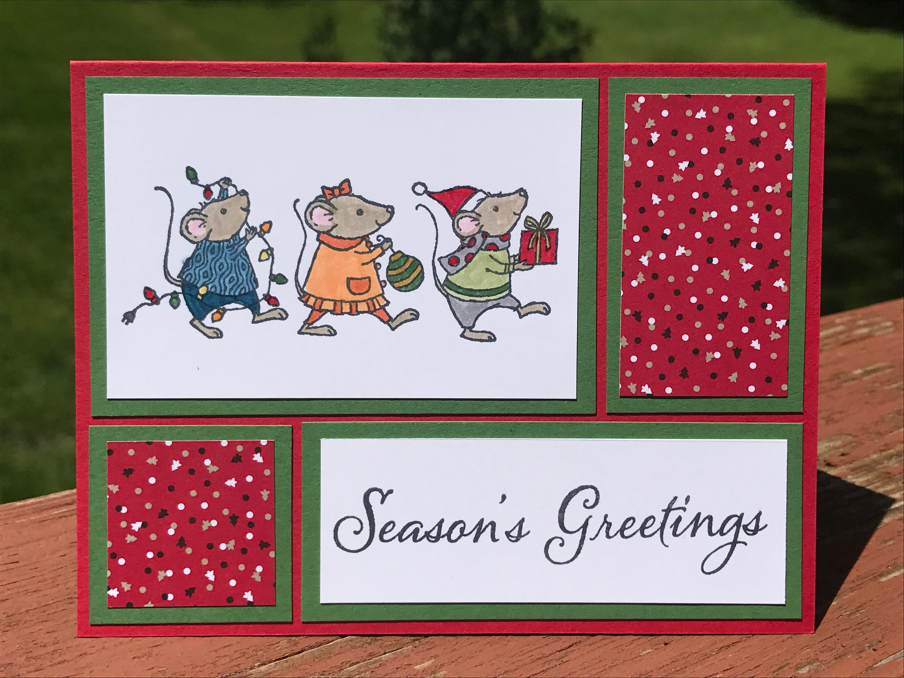 Christmas Card Christmas Mouse Card Stampin Up Card Holiday Card