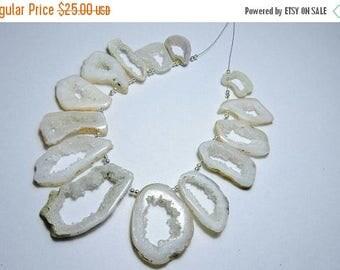 Summer Sale 14 Pcs Natural White Druzy Stalactite Slice Beads White Slice Druzy Necklace Size 18X12 - 42X14 MM