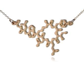 Gold Plated Oxytocin Molecule Necklace