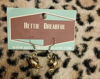 Teapot Earrings Retro Vintage Tea Pot Kitsch Accessories Kitschy Jewelry Cute Jewellery Pinup Pin Up Wonderland Kawaii Alice Miniature Brass
