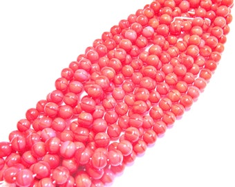 30 ROUND 8 MM BRIGHT CORAL PINK COLOR GLASS BEADS