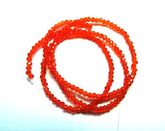 50 ROUND BRIGHT RED CRYSTAL BEADS HAS FACETED 3 MM