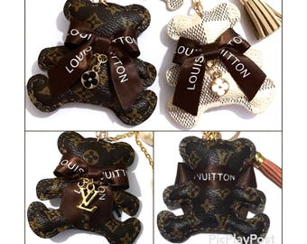 Made W/Upcycled LOUIS VUITTON Ribbon Bow on Monogram or Damier Canvas Teddy Bear Suede Tassel Keychain Bag Charm, Inspired LV or Coin Bear