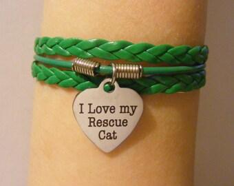 Cat bracelet, cat jewelry, rescue cat bracelet, rescue cat jewelry, leather cat bracelet, leather cat jewelry, fashion bracelet