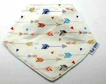 Stylish Bandanna Baby Bib to Catch the Dribble, Little Arrows on Cotton Fabric, So Soft Bamboo Toweling Backed, Snap Fastened, Adjustable.