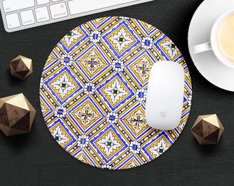 MousePad Marble Mouse Pad Morocco MouseMat Round MousePad Idea Gift Style Print Fabric Mouse Mat Mice Desk Accessories Yellow Tile MousePad