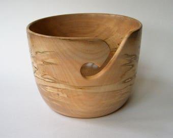"Wooden Yarn Bowl- Hand Turned  Beech Wood. 6"" inch diameter. #2"