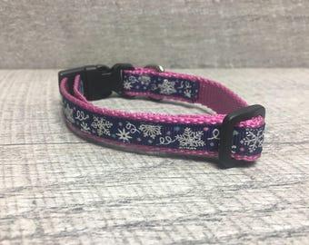 "The Winter Snowflake III | Designer 1/2"" Width Dog Collar | CupcakePups Collars | Small Dog Collar in Navy, Black, Tropical, or Pink"