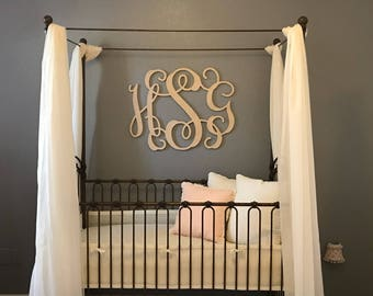3 initial interlocking MONOGRAM Wall Hanging - Unfinished Wood Cutout - Wreath Accent, Door Hanger, Ready to Paint - Baby Monogram - Wedding