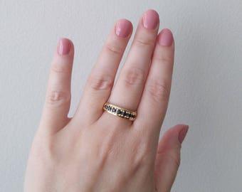 Vintage Gold over Sterling Silver Vermeil Black Cubic Zircon Ring size 7 3/4