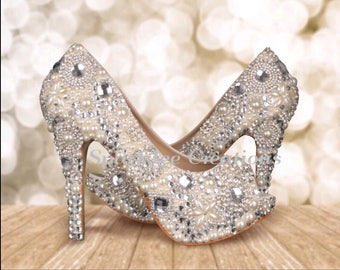 Womens Wedding Heels Brooch Wedding Heels Pearl & Rhinestone Pumps Crystal Stilettos Rhinestone Heels Wedding Shoes