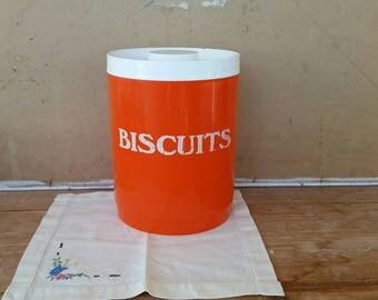 Vintage biscuit barrel/ retro orange/ 1970's/ kitchen