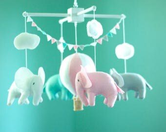 Elephant mobile, Hot Air Balloon mobile, baby crib mobile, Balloon Nursery Decor, Baby Shower Gift